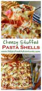 So delicious! Easy Italian jumbo pasta shells stuffed with beef bolognese sauce, vegetables, fresh herbs, all topped with mozzarella and parmesan cheese - Cheesy Stuffed Pasta Shells (Conchiglioni Bolognese)