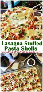 Delicious Italian jumbo pasta shells stuffed with beef bolognese covered in béchamel sauce and mozzarella parmesan cheese - Lasagna Stuffed Shells with Béchamel (Conchiglioni)