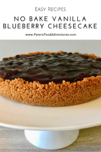 So easy to make, a timesaver that can be prepared in advance. A Vanilla Bean Cheesecake on a cookie base, topped with blueberries - Easy No Bake Blueberry Cheesecake