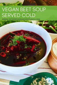 Vegan Cold Beet Soup in a bowl