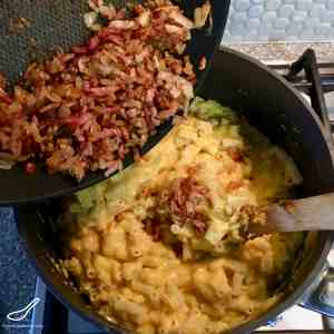 Baked Pumpkin Mac and Cheese with Bacon is easy to make, super cheesy and a healthier way to enjoy this American Dinner favorite.