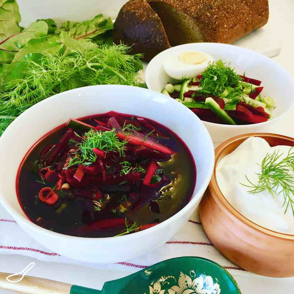 Classic Svekolnik Soup (Свекольник) is simply a cold vegetarian borscht recipe without cabbage, much loved and full of vitamins. Like Holodnik or Okroshka, or Gazpacho, cold summer soups are perfect on a hot summer's day. A vegetarian and Vegan dinner. In Russia, it's all about the beets. Bon Appetit! Приятного аппетита!