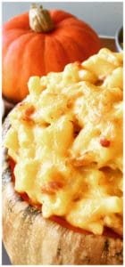 Baked Pumpkin Mac and Cheese with Bacon is easy to make, super cheesy and a healthier way to enjoy this American Dinner favorite. A perfect fall comfort food, especially around Halloween. Pumpkin Macaroni and Cheese with Bacon