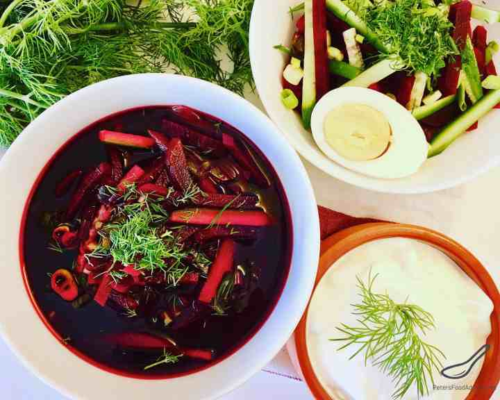 Vegan Cold Beet Soup with fresh dill and vegetables