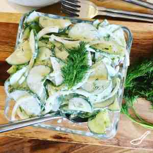 Super easy to make, only takes minutes, and so delicious. This Eastern European classic has roots in Poland. The simple cucumbers and sour cream salad with fresh dill and onions is also known as Mizeria - Polish Creamy Cucumber Salad