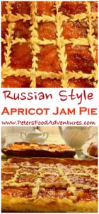 A rustic treat with sweet homemade apricot jam, generously spread on a Russian sweet yeast dough called Sdobnoe (сдобное тесто). Not your ordinary pie pastry, almost a cake or slice, so delicious - Russian Apricot Jam Slice (Пирог из дрожжевого теста с вареньем)