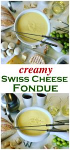 This traditional Swiss Cheese Fondue Recipe is a winter favorite in Switzerland and around the world. Melted Emmental, Gruyere cheese with Kirsch liqueur, white wine and a hint of garlic.