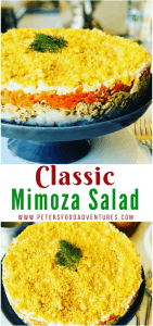 You have to try this Mimosa Salad (Салат Мимоза)! A delicious Russian layered salad popular during celebrations and holidays. A hearty salad with Tuna, Potatoes, Carrots, Eggs and of course, lots of Mayo. Who needs regular potato salad when you can have Mimosa Salad!