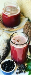 A refreshing summer Kvass drink made from Rye Bread and Blackcurrants, fermented and slightly-alcoholic. Like a homemade beer, but sweeter & healthier.