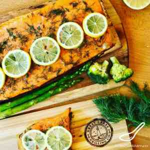 Honey Dill Trout fillet is perfect for your next summer bbq. Grilled on a cedar plank, adding a smokey, woodsy infusion to your Steelhead Trout fillet or Salmon fillet. Incredibly easy to make, using honey, lemon and dill, the perfect flavors for a healthy dinner recipe.
