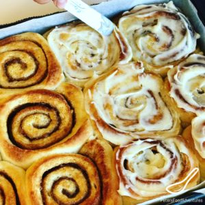 These Easy Cinnamon Rolls are perfectly soft and fluffy, generously slathered with a vanilla bean cream cheese frosting. I can't get enough of this recipe, reminds me of Cinnabon cinnamon rolls.