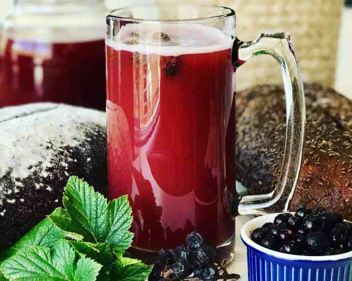 Kvass with black currants in a  glass