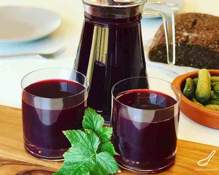 Black Currant Juice in glass pitcher