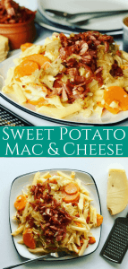 This Easy Sweet Potato Mac and Cheese is made with Swiss Cheese and bacon. It's the tastiest comfort food, perfect to eat any time of year, one of my favorite sweet potato recipes!
