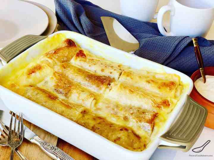 Cheese Blintzes in a casserole dish on a table ready to serve