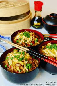 Cauliflower Rice in bowls with chopsticks