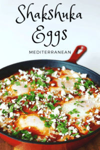 Shakshuka Eggs in a skillet