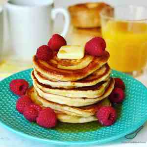 Buttermilk Pancakes with Raspberries