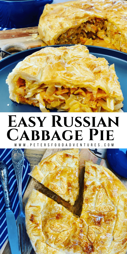 Russian Cabbage Pie that is easy to make using a puff pastry shortcut. Stuffed with butter braised cabbage. A tasty vegetarian meal that's perfect for lunch or dinner!