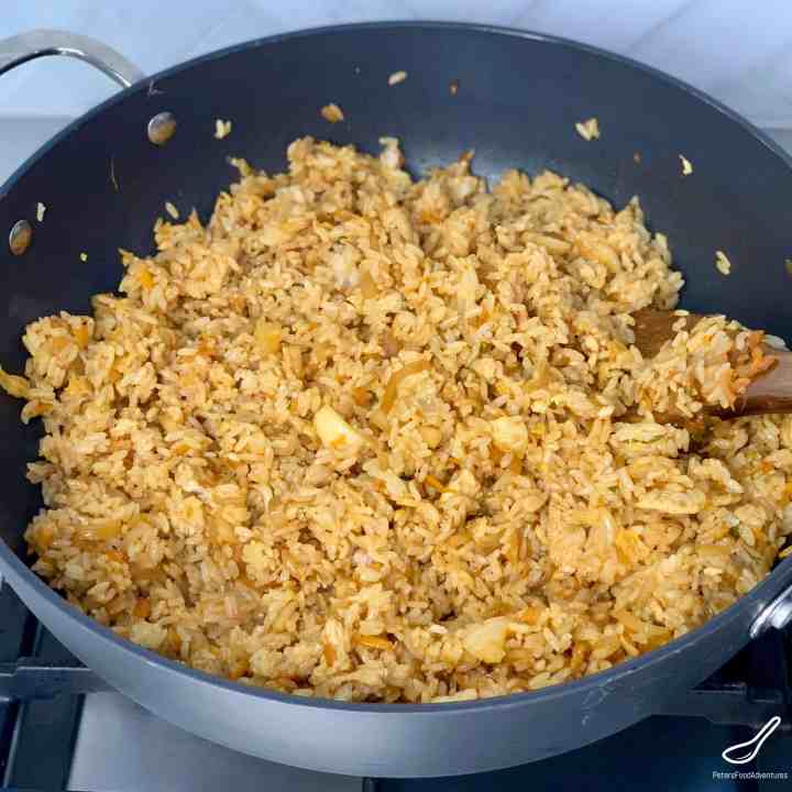 kimchi fried rice in a wok