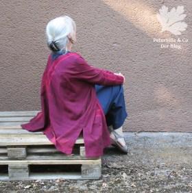 Handloom mit Bordüre Jacke für Karlotta Pink