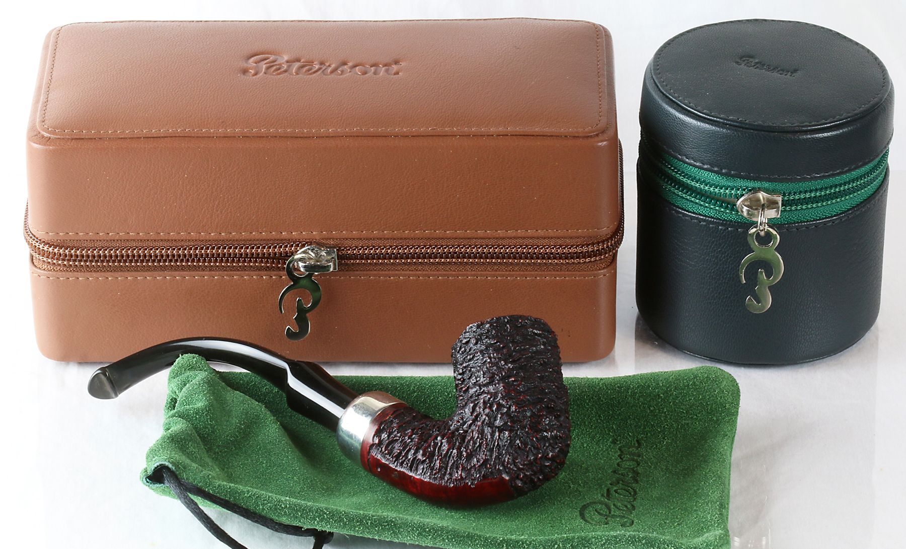 219. Ted Swearingen & the New Peterson Leather Hard Shell Case & Tobacco Jar