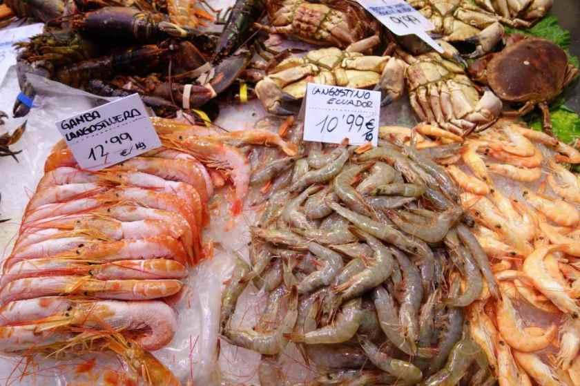 La Boqueria Markt, La Boqueria,, Meeresfrüchte