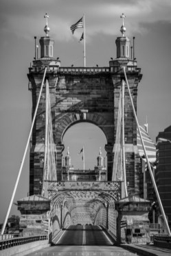 John A Roebling Suspension Bridge - Monochrome