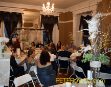 A shot of the entire banquet room during the Matron of Honor's toast