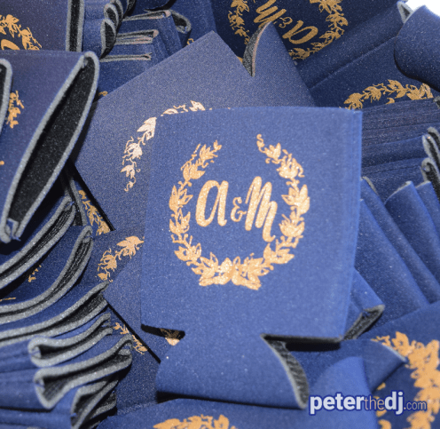 Guests were invited to grab a drink koozie featuring the newlyweds' initials.
