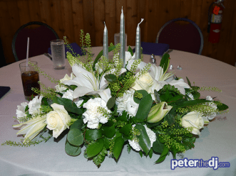 Sweetheart Table bouquet: Kathy and Duncan's 25th wedding anniversary at Drumlins, Syracuse