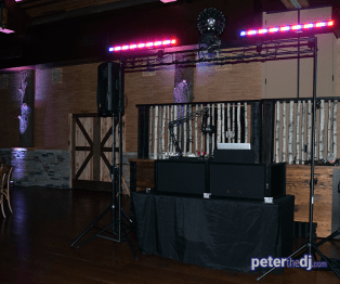 DJ setup at Emily and Nick's wedding at Tailwater Lodge, Altmar, NY. Photo by DJ Peter Naughton. October 2018