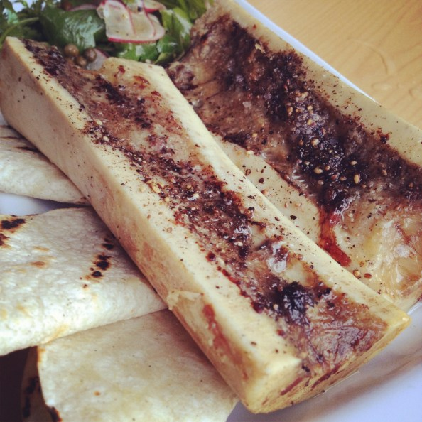 Black Hogg Roasted Marrow Bones Breakfast Radishes closeup