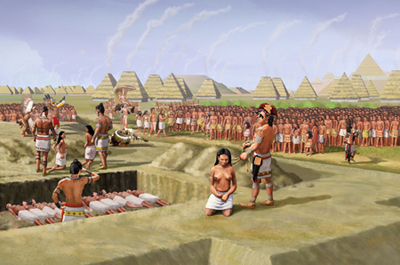 """An illustration of the ritual sacrifice by strangulation of 53 of young women (aged 15 to 25) at the Mound 72 burial of an important personage, now referred to as the """"Birdman"""" because of the falcon shaped arrangement of beads around his body. Mound 72 is a ridgetop mound at the Cahokia Mounds Site, a large Mississippian culture mound center located in present day Madison County, Illinois."""