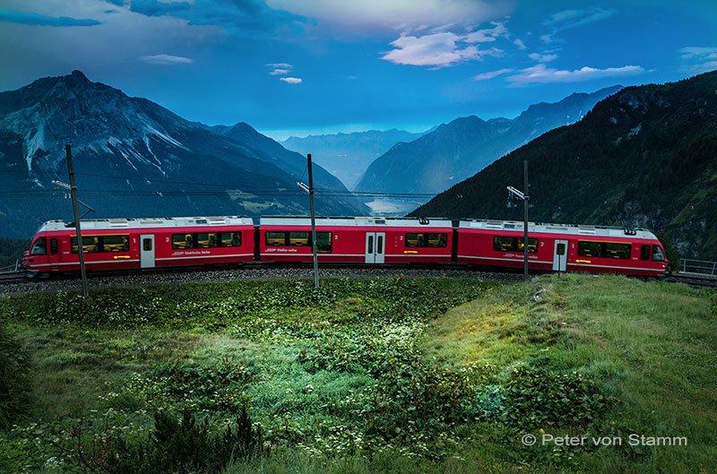 Valposchiavo - die Rhätische Bahn auf Alp Grüm