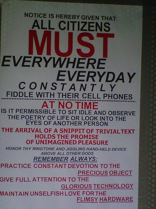 Notice re cell phones