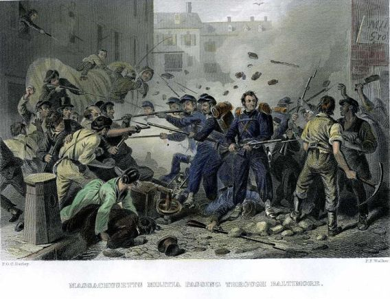 The Baltimore Riot. Engraving from Wikipedia.