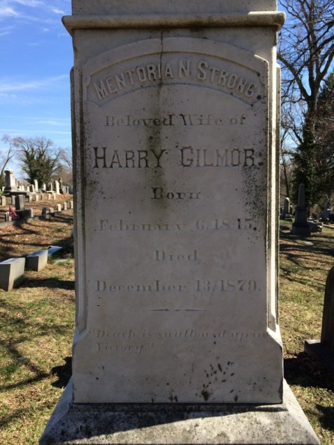 Detail of the right Harry Gilmor's Monument, marking his wife's burial.