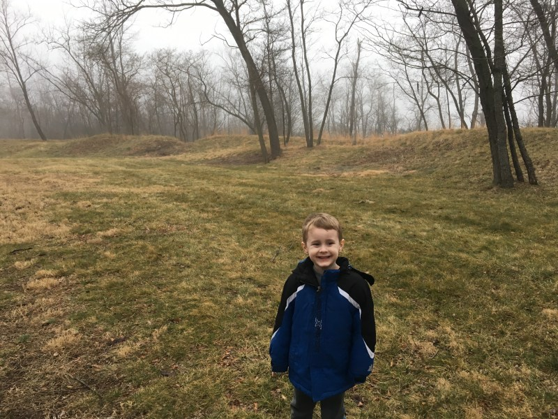 My son in the middle of the Star Fort at Second Winchester. Very cool! - <i>Photo by the Author</i>