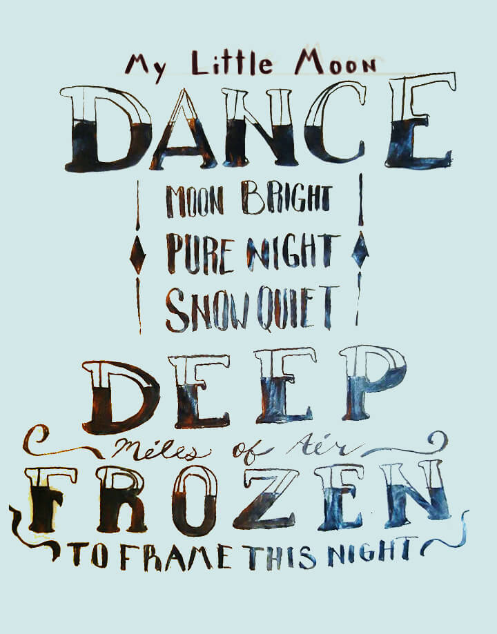 Hand-drawn lettering of Moondance poem