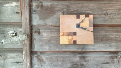 klok, hout, beuken, zebrano, grenen, teak