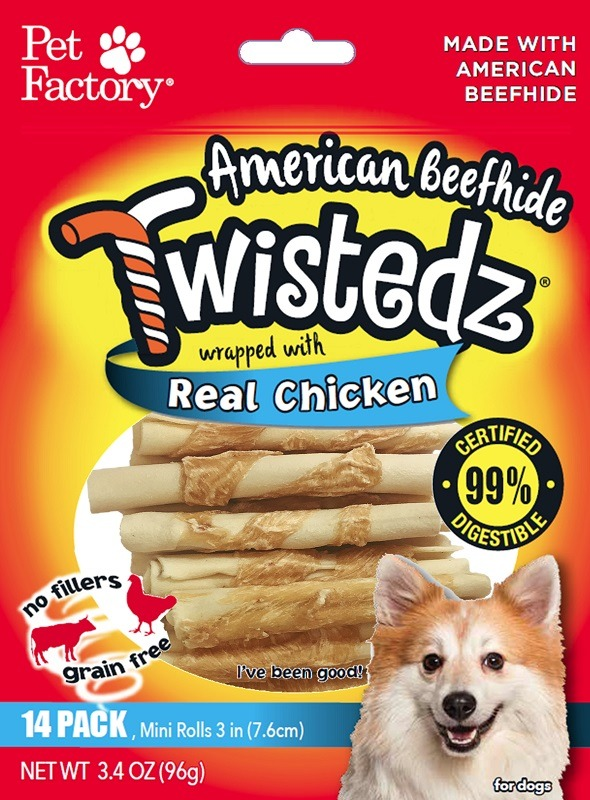 Twistedz dog chews - Beefhide wrapped with real chicken meat.