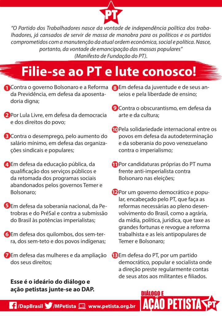13 pontos do ideário do diálogo e ação petistas