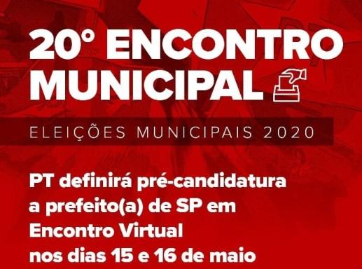 cartaz do 20o. Encontro Municipal do PT São Paulo