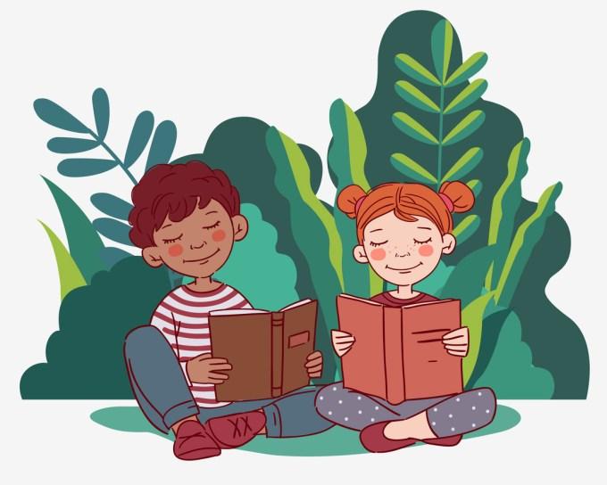 Deux enfants lisent
