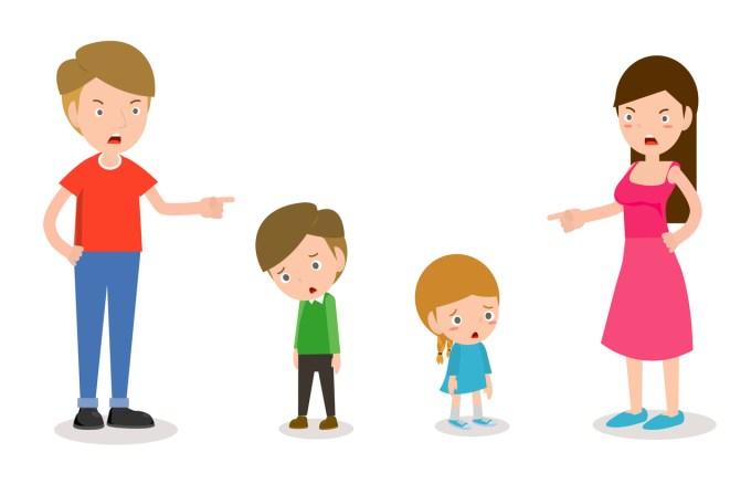 Enfants se faisant gronder et punir