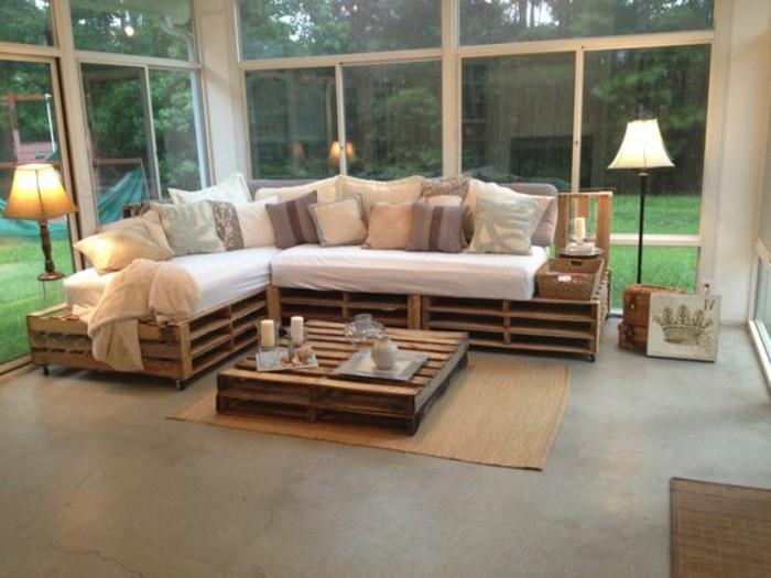 canapé en palette plan
