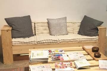 canapé d'angle d'extérieur en palette