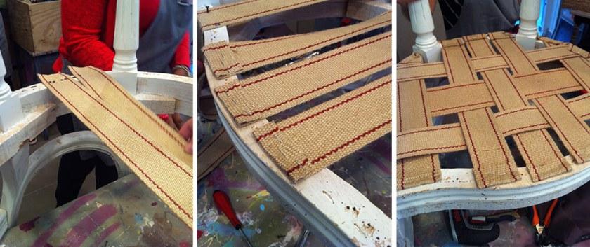 canapé ancien en tissu