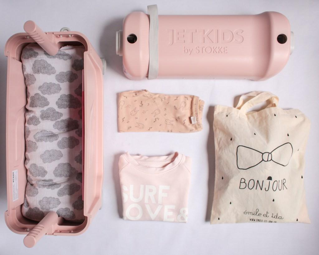 jetkids-bedbox-stokke-travel-kids-pink-lemonade-emile-et-ida-moumout-poudre-organic-valise-enfant-voyage